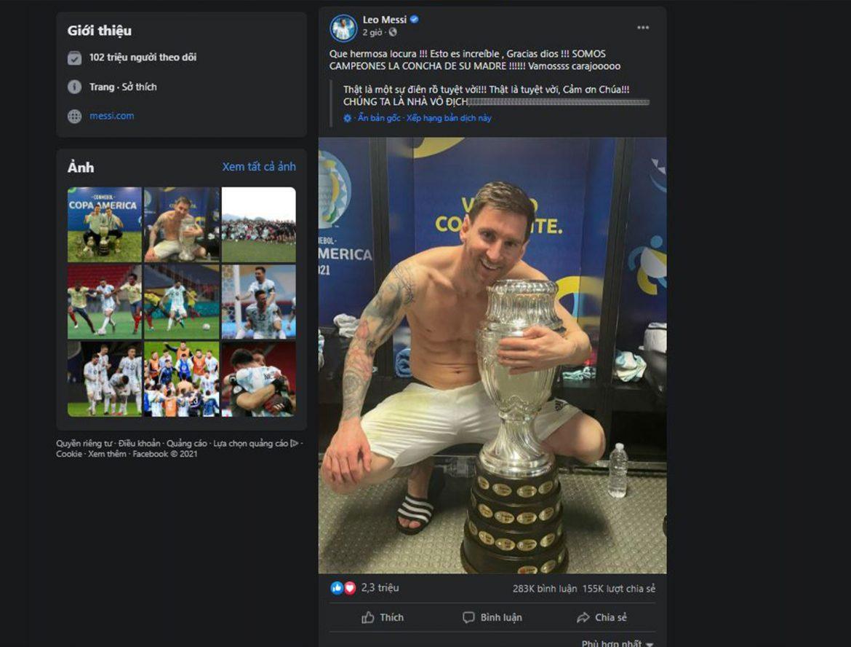 Messi ăn mừng chức vô địch Copa America 2021 nhận hơn 20 triệu lượt thích